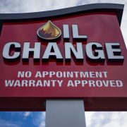 A newly erected Oil Change sign.
