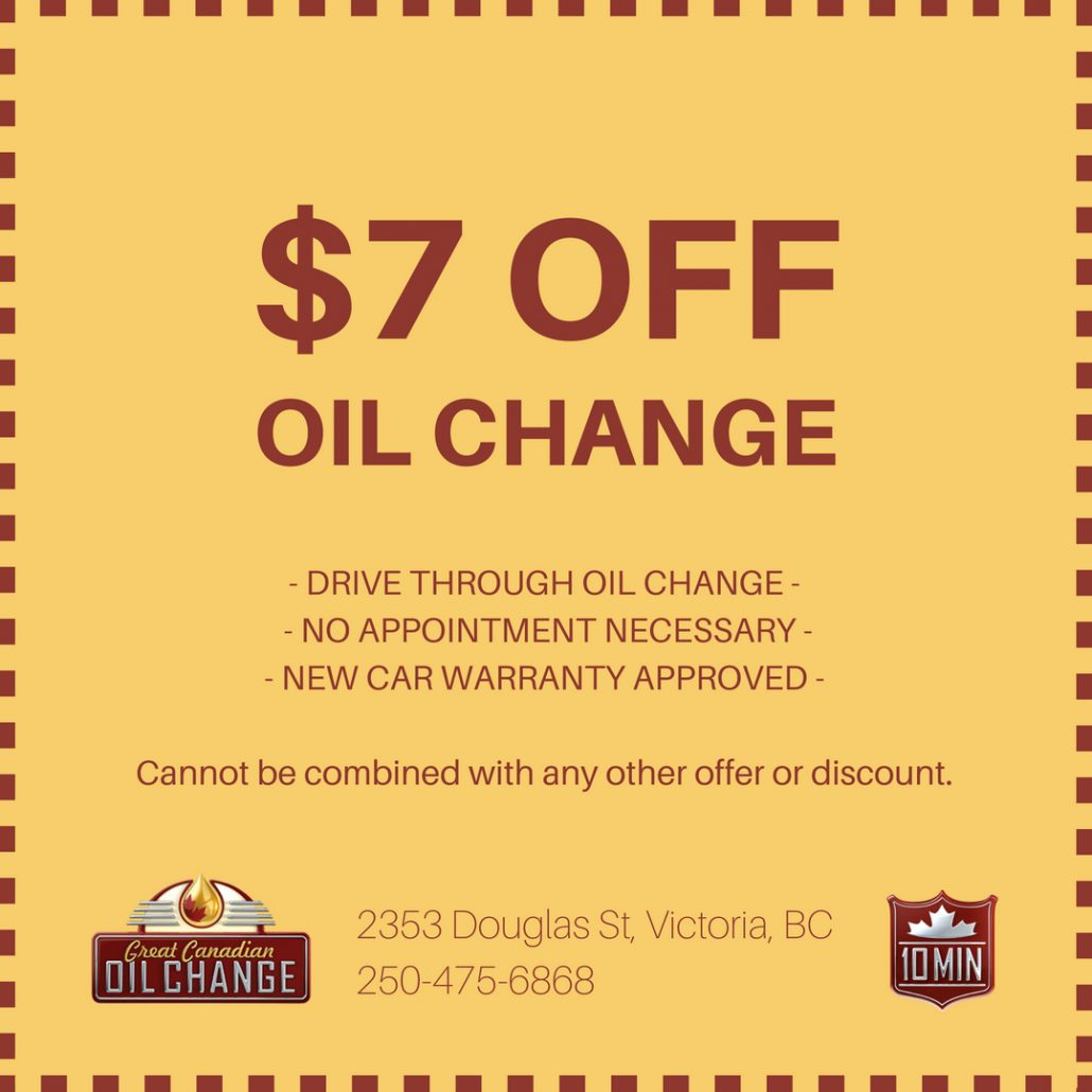 $7 off oil change coupon in Victoria